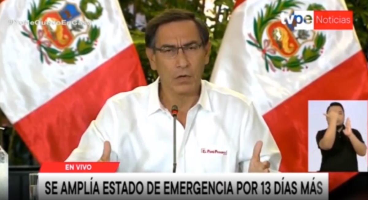 En Perú se amplía el estado de Emergencia 13 días más